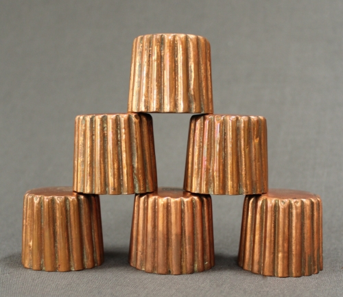 A set of six 19th Century copper moulds
