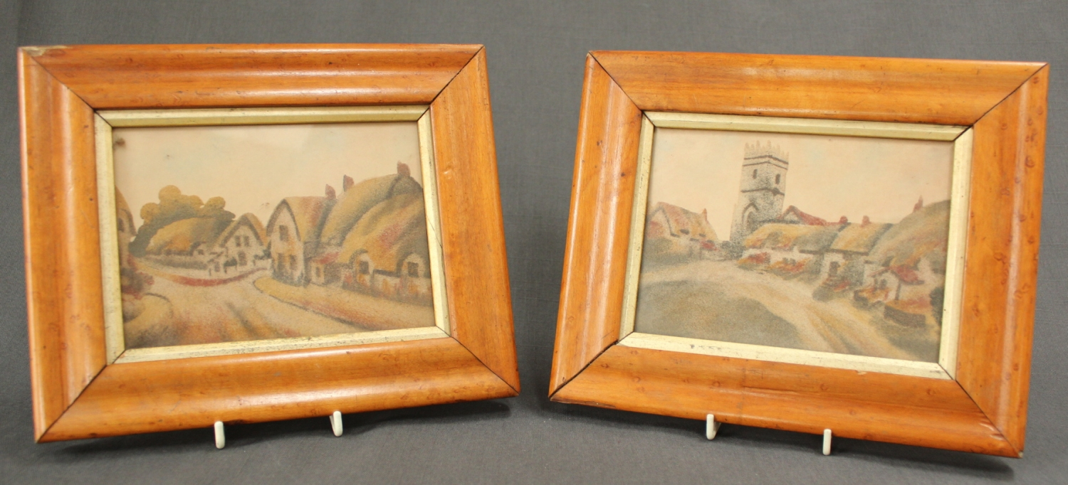 A pair of 19th Century sand sculptured panels