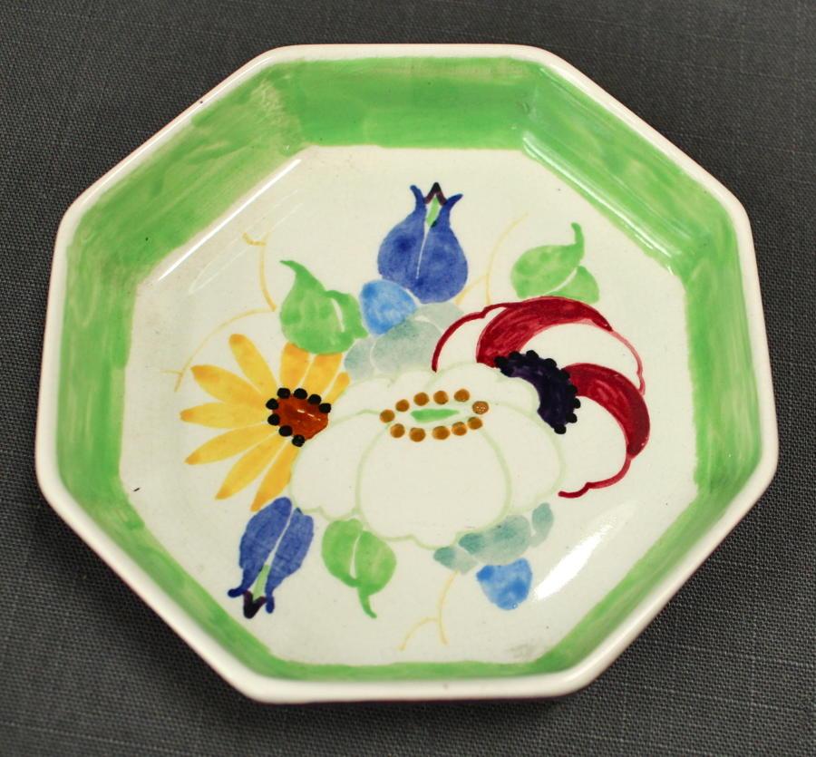 A Bough Pottery octagonal pin dish