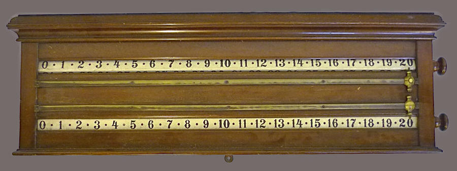 An Edwardian mahogany billiards score board