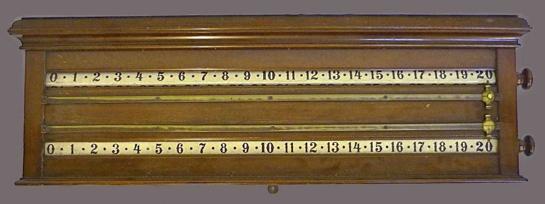 An Edwardian mahogany billiards score board