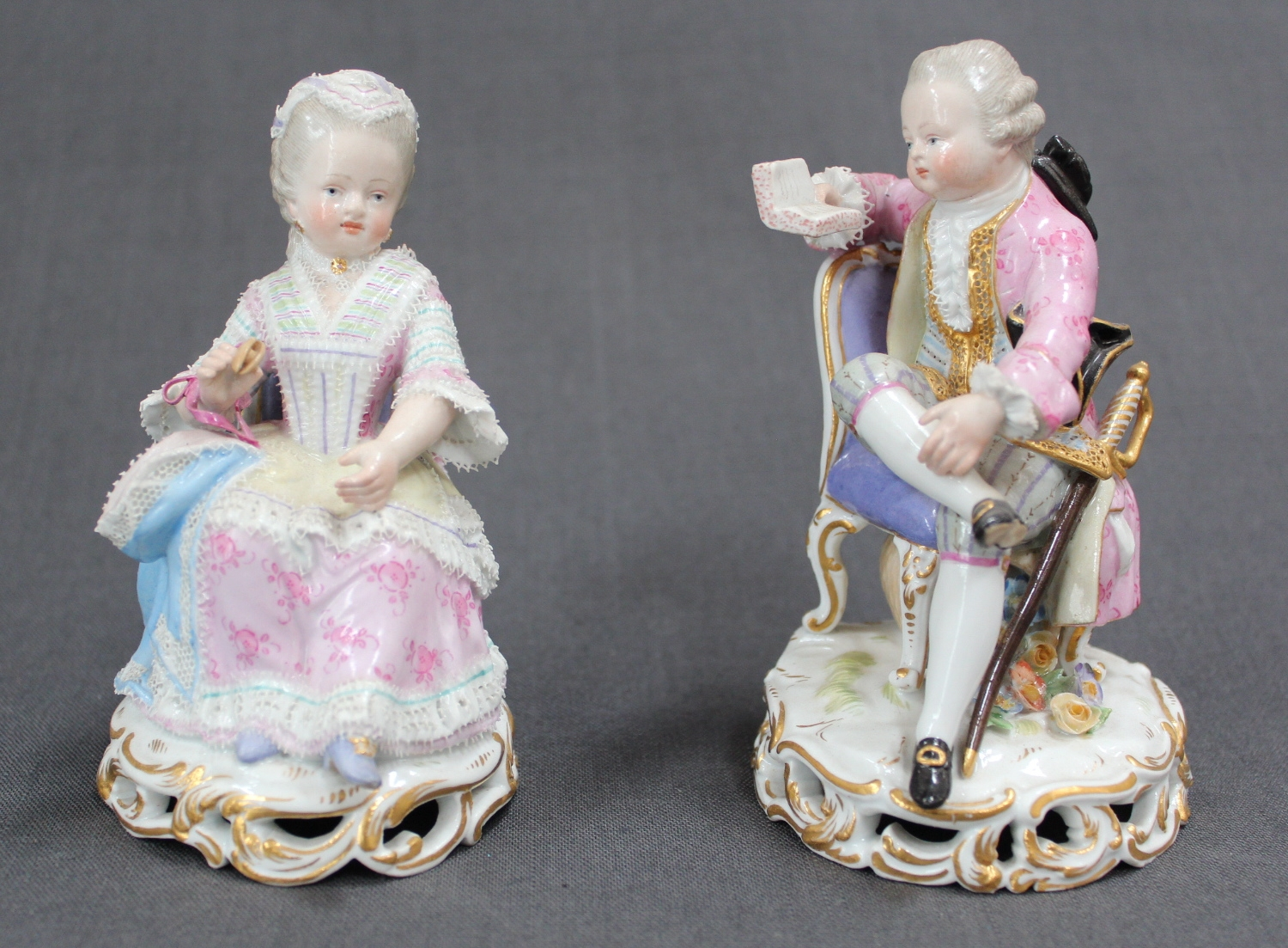 A pair of 19th Century Meissen figures