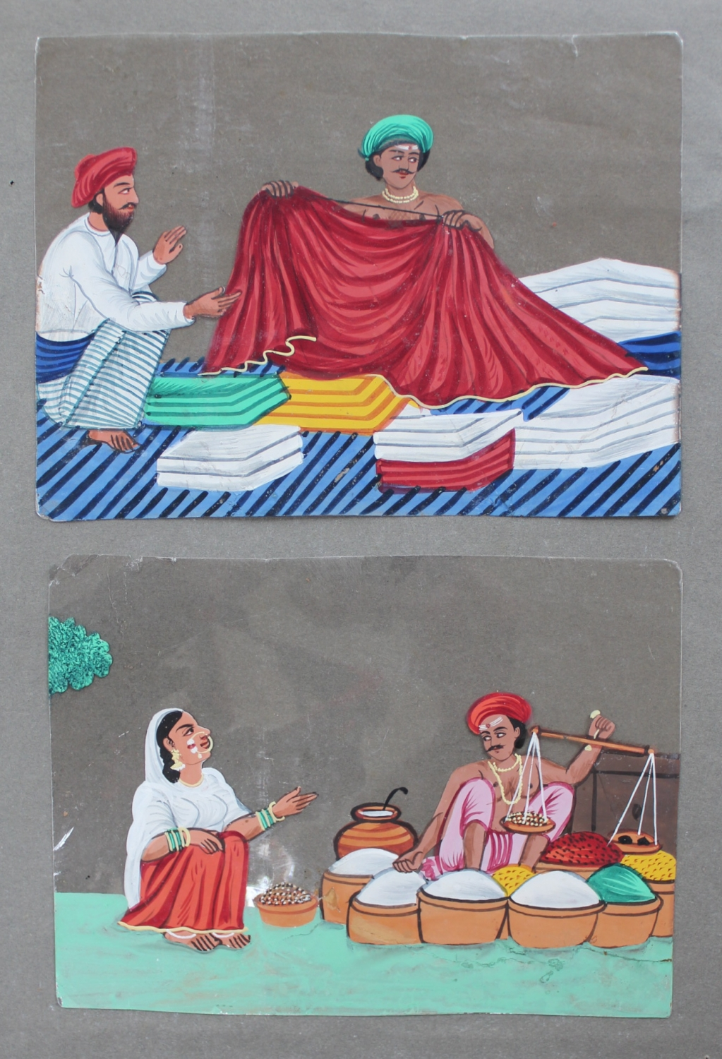 A pair of Indian drawings on mica