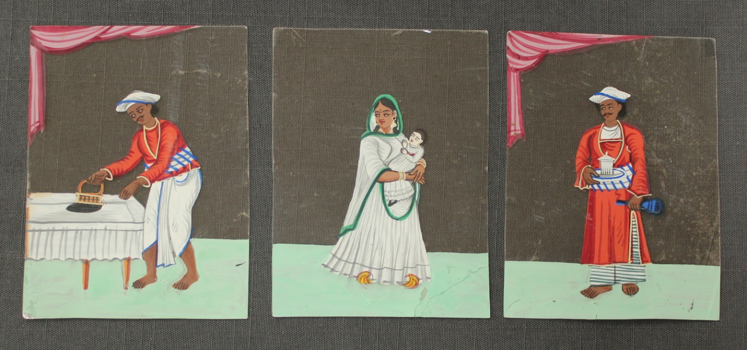 Three Indian drawings on mica