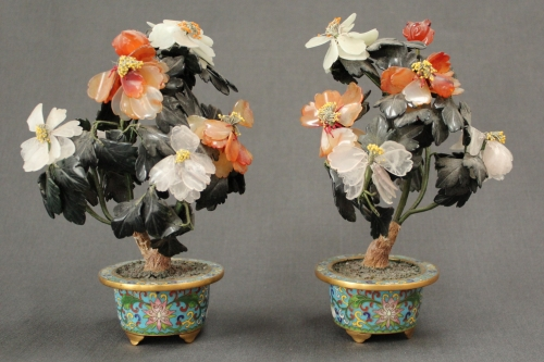 A pair of cloisonné and hard stone plants