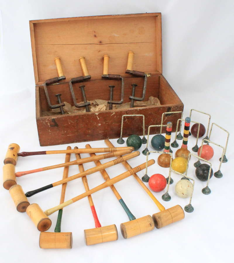 A Victorian table croquet set