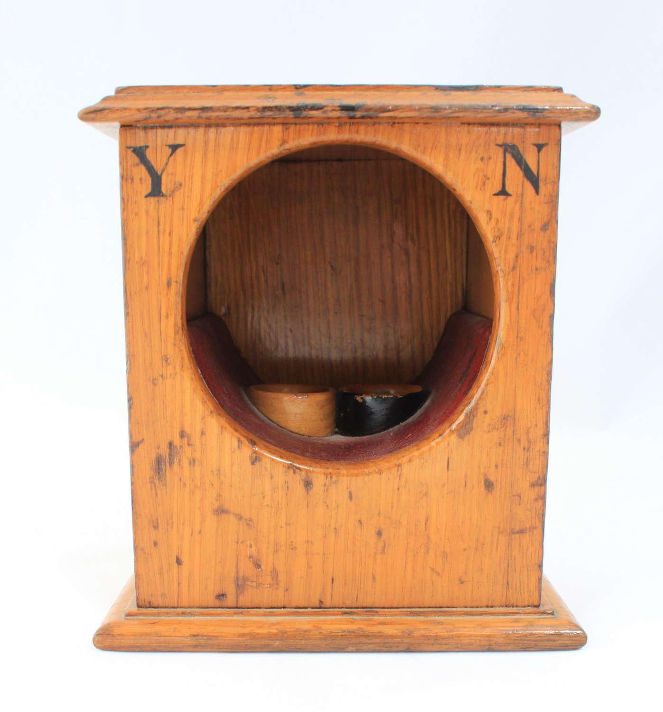 Victorian light oak ballot box