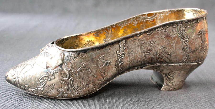 A 19th Century Dutch Silver Miniature Shoe