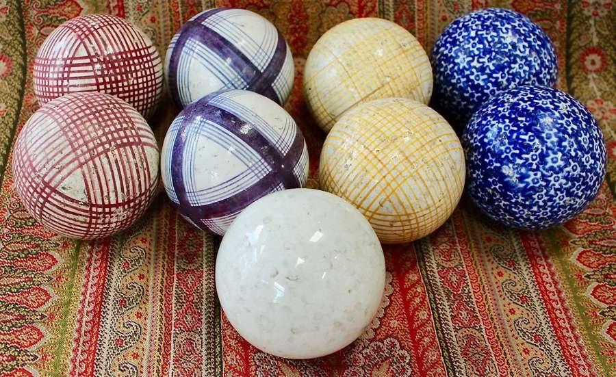 19th Century Scottish Pottery Carpet Bowls