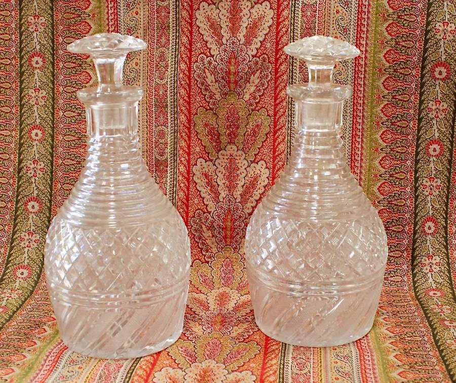 PAIR OF EARLY 19th CENTURY GLASS DECANTERS