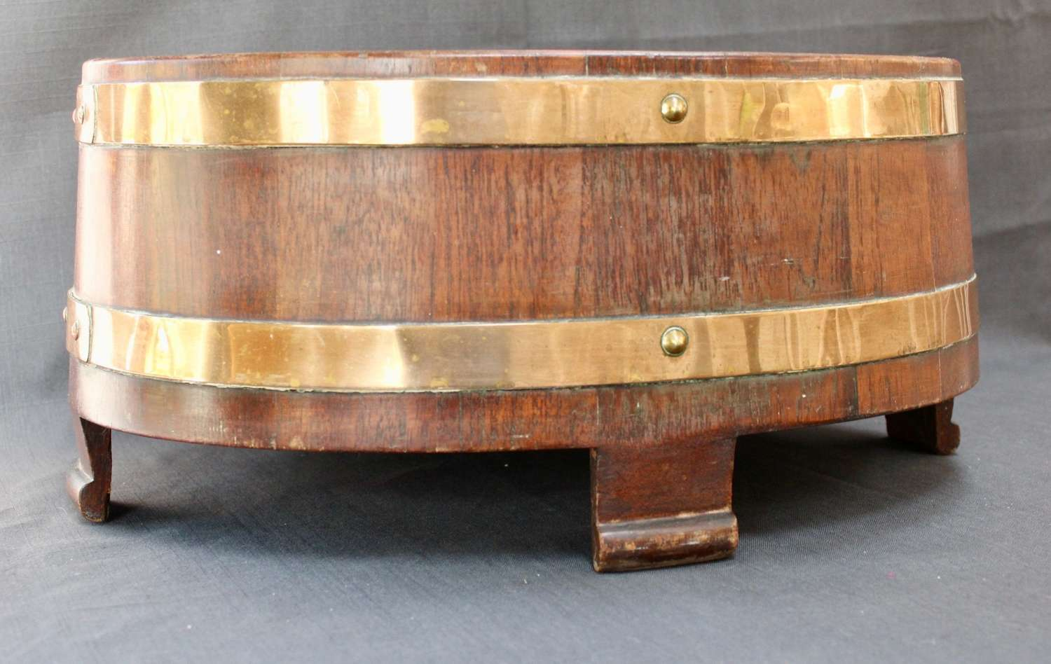 COOPERED OAK AND BRASS BOUND PLANTER